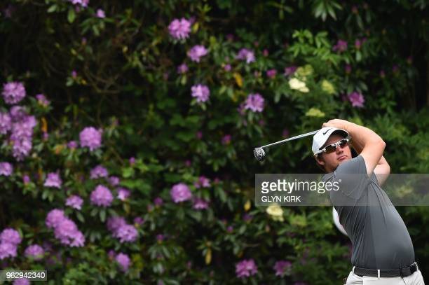England's Sam Horsfield tees off on the seventh hole on day four of the golf PGA Championship at Wentworth Golf Club in Surrey south west of London...