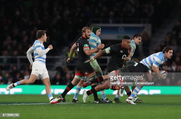 England's Sam Underhill makes a tackle during the Old Mutual Wealth Series match between England and Argentina at Twickenham Stadium on November 11...