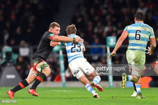 England's Sam Underhill makes his tackle on Argentina's Sebastian Cancellere during Old Mutual Wealth Series between England against Argentina at...