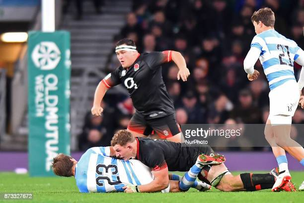 England's Sam Underhill makes the tackle on Argentina's Sebastian Cancellere with England's Jamie George in the background during Old Mutual Wealth...