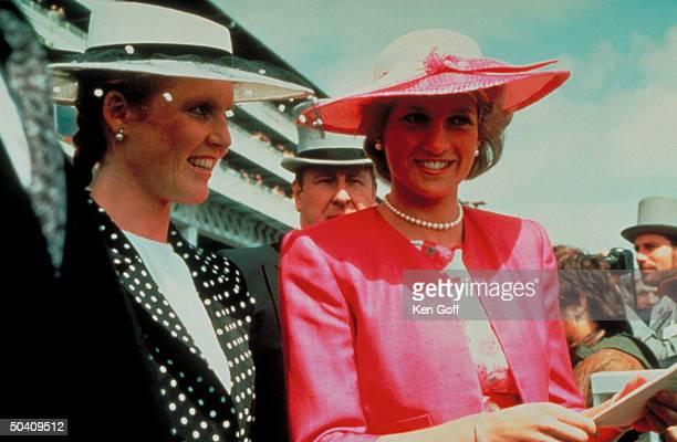 ) England's Sarah Ferguson, Duchess of York, & Princess Diana at Epsom Derby.