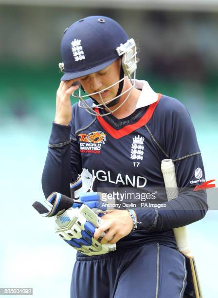 England's Sarah Taylor leaves the field after being caught by Lisa Sthalekar during the ICC Women's World Twenty20 Semi Final at The Oval London