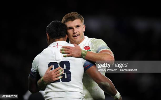 England's Semesa Rokoduguni celebrates scoring his sides seventh try with Henry Slade during the 2017 Old Mutual Wealth Series Autumn International...