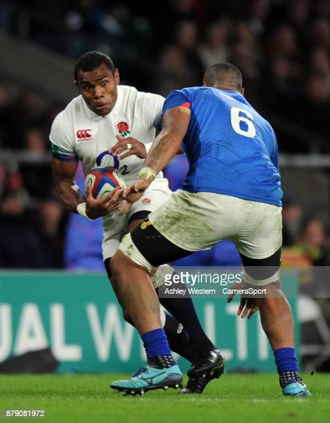 England's Semesa Rokoduguni evades the tackle of Samoa's Piula Faasalele during the 2017 Old Mutual Wealth Series Autumn International match between...