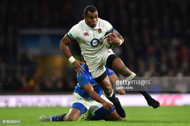 England's Semesa Rokoduguni on the ball during the autumn international rugby union test match between England and Samoa at Twickenham stadium in...