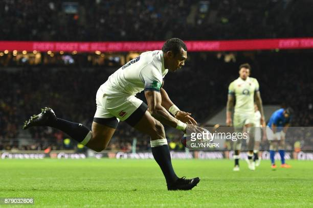 England's Semesa Rokoduguni scores a try during the autumn international rugby union test match between England and Samoa at Twickenham stadium in...
