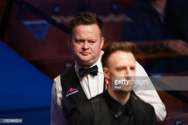 England's Shaun Murphy seen in his match against Judd Trump during day 11 of the Betfred World Snooker Championships 2021 at the Crucible Theatre on...