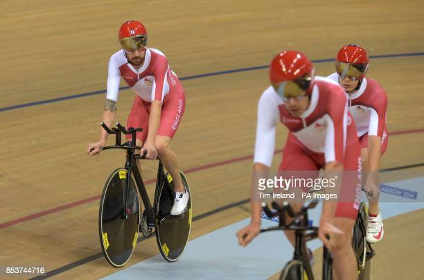 England's Sir Bradley Wiggins after losing the Men's 4000m Team Pursuit Gold Medal Race to Australia at the Sir Chris Hoy Velodrome during the 2014...