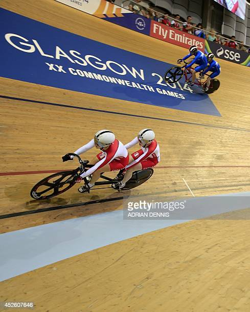England's Sophie Thornhill and Helen Scott compete against Scotland's Louise Haston and Aileen McGlynn in the women's sprint B2 tandem final race 1...