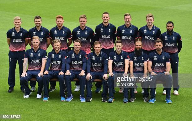 England's squad for the ICC Champions trophy cricket tournament pose Sam Billings Mark Wood Jonny Bairstow Jason Roy Alex Hales Jake Ball David...