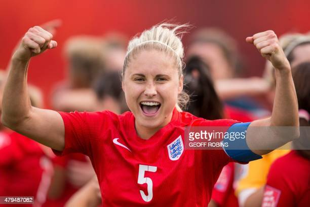 England's Steph Houghton celebrates their 1-0 win over Germany in the bronze medal match at the 2015 FIFA Women's World Cup in Edmonton, Alberta on...