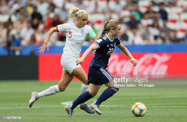 England's Steph Houghton Scotland's Erin Cuthbert battle for the ball during the FIFA Women's World Cup Group D match at the Stade de Nice