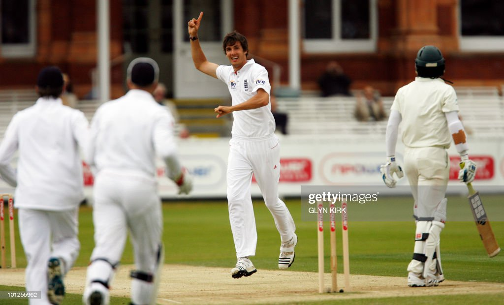 England's Steve Finn (C) celebrates taking the wicket of Bangladesh's Junaid Siddiqueon for 58 runs on the third day of the first Test match against Bangladesh at Lord's Cricket Ground in London, England on May 29, 2010.