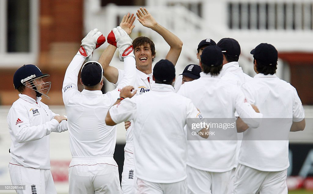 England's Steve Finn (C) celebrates taking the wicket of Bangladesh's Mohammad Ashraful lbw for 4 runs on the third day of the first Test match against Bangladesh at Lord's Cricket Ground in London, on May 29, 2010.