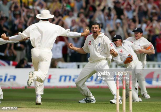 England's Steve Harmison celebrates after dismissing Australia's Michael Kasprowicz as England won the 2nd Ashes Test match between England and...