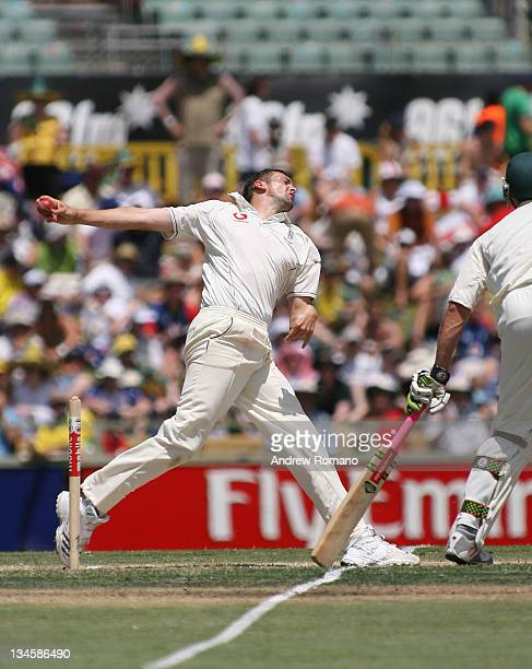 England's Steve Harmison delivers during day three of the third Ashes test between Australia and England at the WACA Perth Ground in Perth Australia...