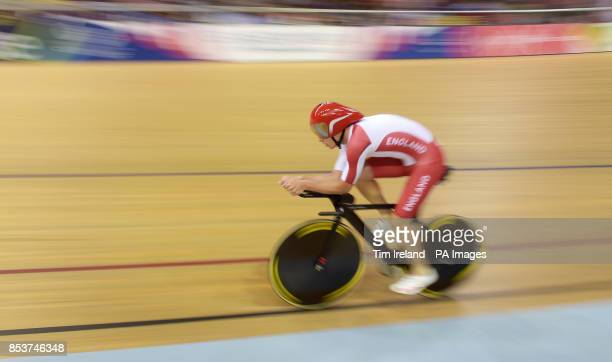England's Steven Burke rides in the 4000m time trial qualifying at the Sir Chris Hoy Velodrome during the 2014 Commonwealth Games in Glasgow