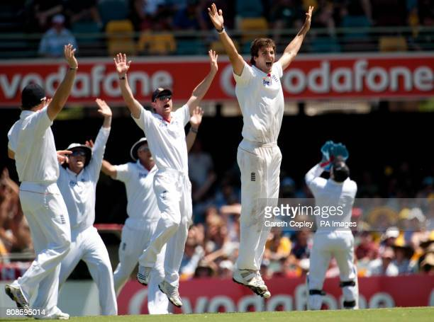 England's Steven Finn appeals for a catch behind from Australia's Michael Clarke which was given not out after the decision was referred to the 3rd...