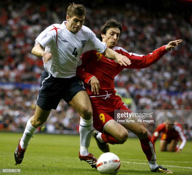 England's Steven Gerrard in action against Macedonia's Goran Maznov during the UEFA European Championship 2008 Qualifying Group E match at Old...