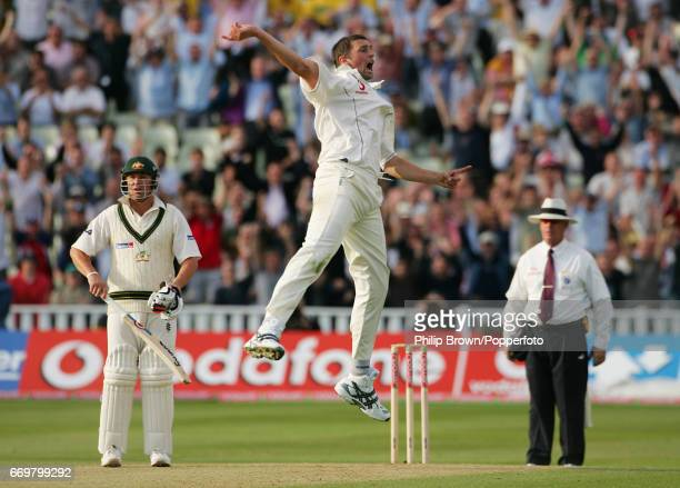 England's Steven Harmison celebrates after dismissing Australia's Michael Clarke during the 2nd Ashes Test match between England and Australia at...