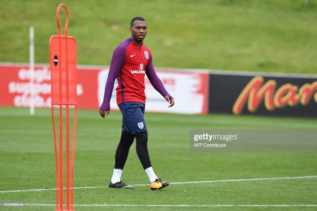 England's striker Daniel Sturridge attends a training session at St George's Park in Burton-on-Trent on August 29, 2017, as part of an England football team media day ahead of their 2018 FIFA World Cup qualifier matches against Malta on September 1 and Slovakia on September 4. / AFP PHOTO / Paul ELLIS / NOT