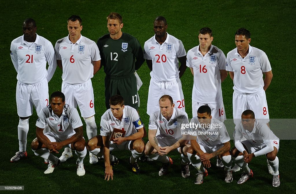 England's striker Emile Heskey, England's defender John Terry, England's goalkeeper Robert Green, England's defender Ledley King, England's midfielder James Milner and England's midfielder Frank Lampard, (from bottom L) England's defender Glen Johnson, England's midfielder Steven Gerrard, England's striker Wayne Rooney, England's midfielder Aaron Lennon and England's midfielder Ashley Cole pose prior to the start of the Group C first round 2010 World Cup football match England vs. USA on June 12, 2010 at Royal Bafokeng stadium in Rustenburg. NO