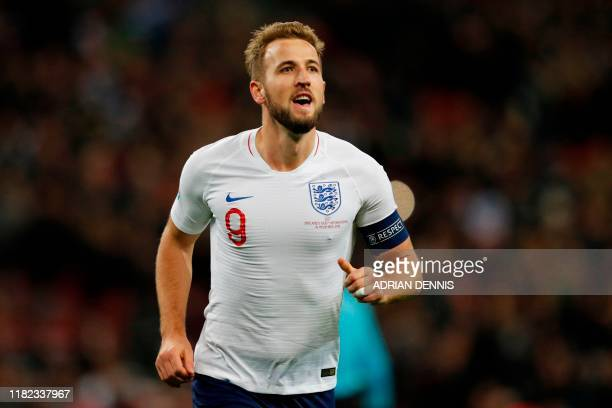 England's striker Harry Kane celebrates after scoring his third goal England's fifth during the UEFA Euro 2020 qualifying first round Group A...