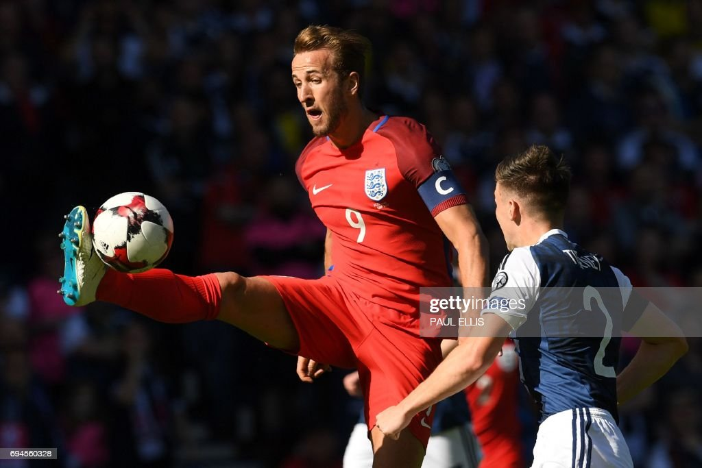 England's striker Harry Kane controls the ball during the group F World Cup qualifying football match between Scotland and England at Hampden Park in Glasgow on June 10, 2017. The game ended 2-2. / AFP PHOTO / Paul ELLIS / NOT