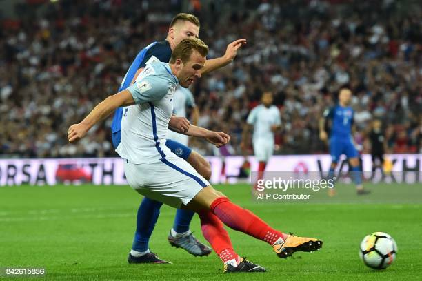 England's striker Harry Kane has an unsuccessful shot during the World Cup 2018 qualification football match between England and Slovakia at Wembley...