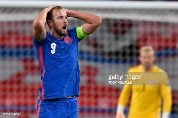 England's striker Harry Kane reacts during the UEFA Nations League group A2 football match between England and Denmark at Wembley stadium in north...