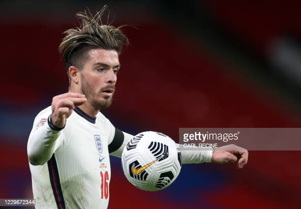 England's striker Jack Grealish controls the ball during the UEFA Nations League group A2 football match between England and Iceland at Wembley...