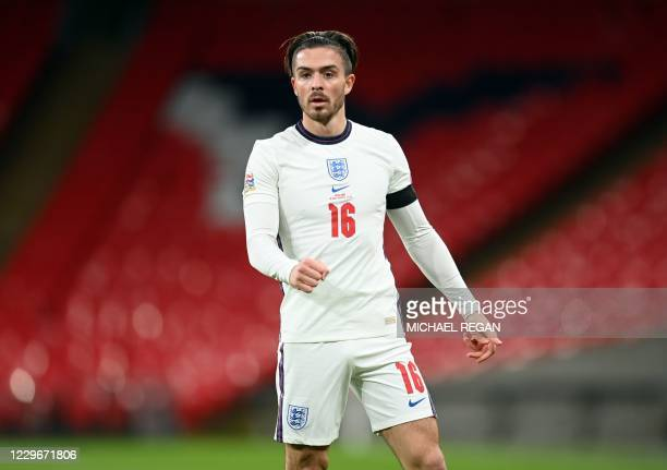 England's striker Jack Grealish during the UEFA Nations League group A2 football match between England and Iceland at Wembley stadium in north London...