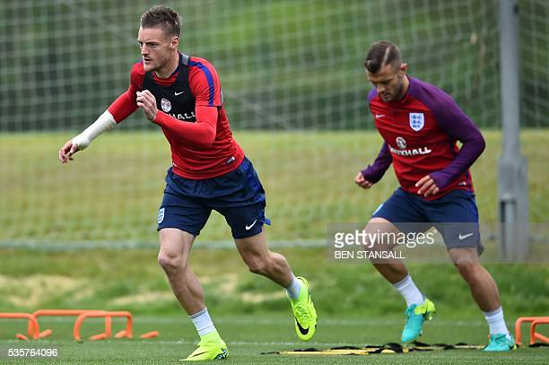 England's striker Jamie Vardy attends a team training session in Watford north of London on May 30 2016 England play against Portugal in a friendly...