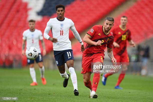 England's striker Marcus Rashford closes in on Belgium's defender Toby Alderweireld during the UEFA Nations League group A2 football match between...