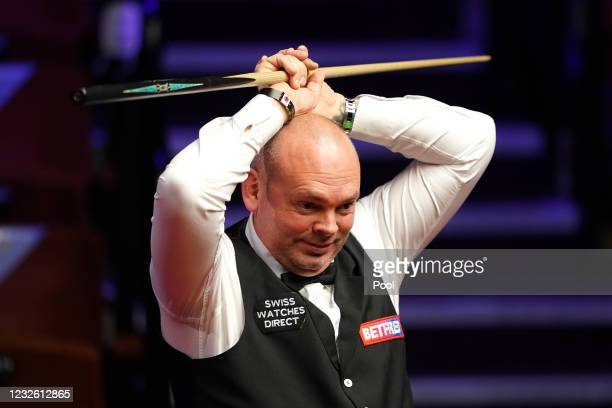 England's Stuart Bingham reacts during day fourteen of the Betfred World Snooker Championships at the Crucible Theatre on April 30, 2021 in...
