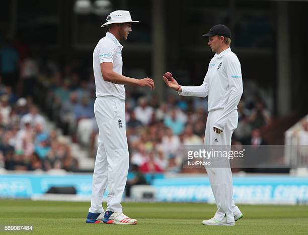 LR England's Stuart Broad and England's Joe Root during Day Three of the Fourth Investec Test Match between England and Pakistan played at The Kia...
