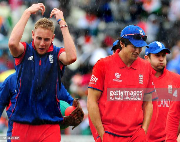 England's Stuart Broad and players go back to pavilion as rain stops play for a second time during the ICC Champions Trophy Final at Edgbaston...