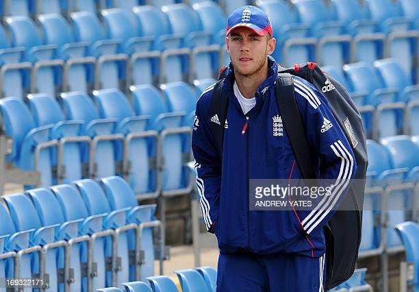 England's Stuart Broad arrives for indoor training on the eve of the second International Test cricket match between England and New Zealand at the...