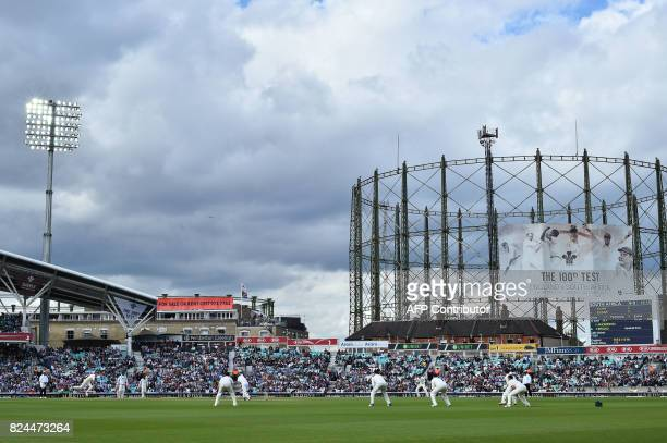 England's Stuart Broad bowls to South Africa's Heino Kuhn on the fourth day of the third Test match between England and South Africa at The Oval...