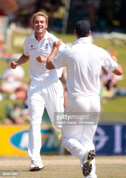 England's Stuart Broad celebrates dismissing South Africa's AB deVilliers during the First Test at the SuperSport Park Centurion South Africa