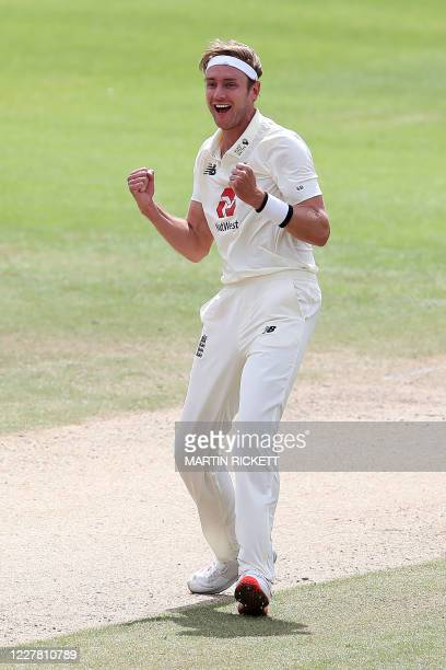 England's Stuart Broad celebrates taking the wicket of West Indies' Kraigg Brathwaite, his 500th Test wicket, on the final day of the third Test...