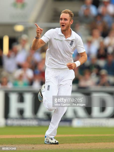 England's Stuart Broad celebrates the wicket of India's Cheteshwar Pujara during the Fourth Investec Test at Emirates Old Trafford Manchester