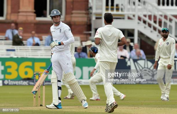 England's Stuart Broad is caught behind off the bowling of India's Bhuvneshwar Kumar during day three of the second test at Lord's Cricket Ground...