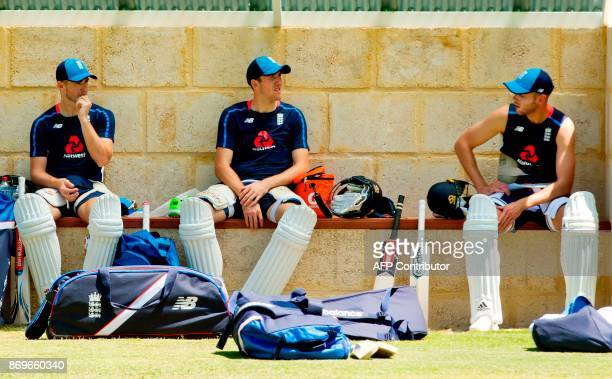 England's Stuart Broad Mason Crane and Craig Overton attend a training session at the WACA ground in Perth on November 3 ahead of their cricket match...