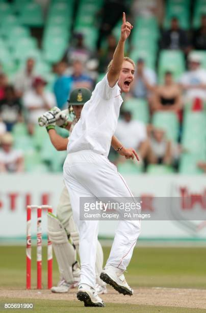 England's Stuart Broad successfully appeals for the wicket of South Africa's AB deVilliers during the second Test at Kingsmead Durban South Africa