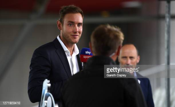 England's Stuart Broad works for Sky Sports during the 1st Royal London One Day International Series match between England and Australia at Emirates...