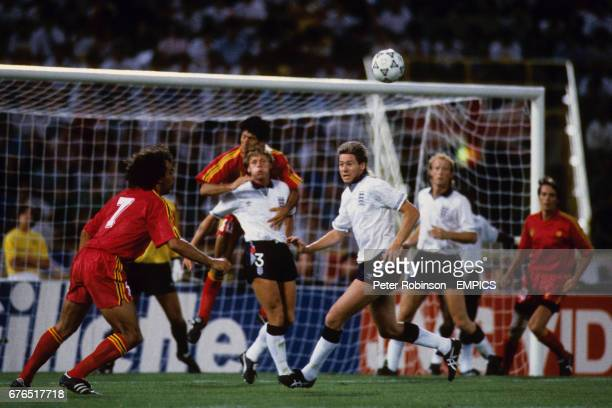 England's Stuart Pearce Chris Waddle and Mark Wright fend off a Belgium attack led by Stephane DEMOL and Enzo SCIFO