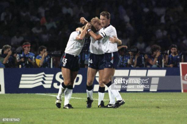 England's Stuart Pearce Mark Wright and Terry Butcher celebrate England taking the lead through a David Platt header