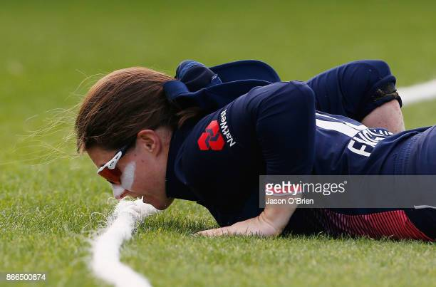Englands Tammy Beaumont reacts during the Women's One Day International match between Australia and England on October 26 2017 in Coffs Harbour...