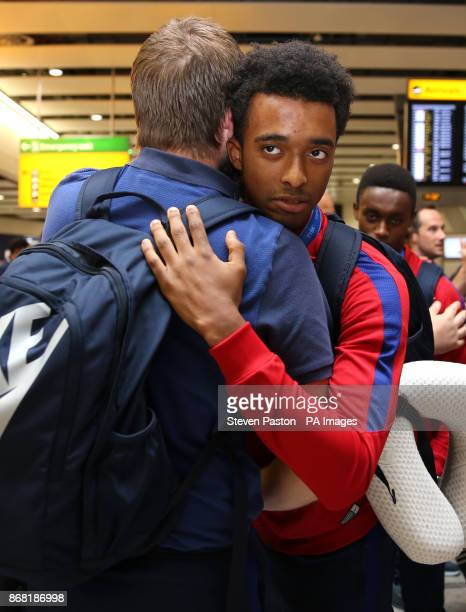 England's Tashan OakleyBoothe as the Under17 World Cup winning side arrive back to the UK at Heathrow Airport